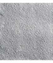 45x stuks servetten zilveren barok 3 laags