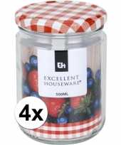 4x bewaar pot 500 ml met draaideksel