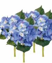 4x blauwe kunst hortensia kunstbloemen 48 cm