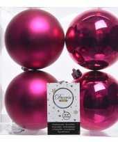 4x fuchsia roze kerstversiering kerstballen kunststof 10 cm