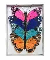 4x hobby diy vlinder decoraties 9 cm van papier