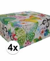 4x kadopapier gebloemd type 8 70 x 200 cm