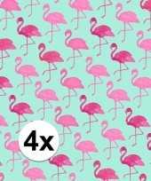 4x kadopapier met flamingos type 2 70 x 200 cm