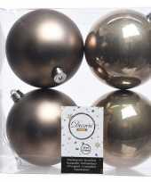4x kasjmier bruine kerstballen 10 cm glanzende matte kunststof plastic kerstversiering