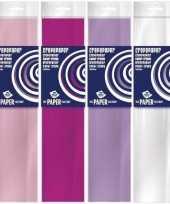 4x knutsel crepe vouw papier basis kleuren voor meisjes 250 x 50 cm