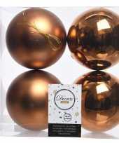 4x koper bruine kerstversiering kerstballen kunststof 10 cm
