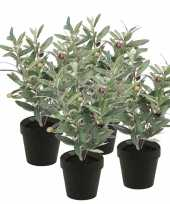 4x nep olijf boompje plant groen in zwarte pot kunstplant