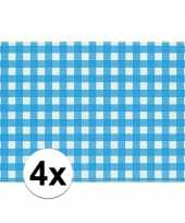 4x placemats blauw wit geblokt 43 x 30 cm