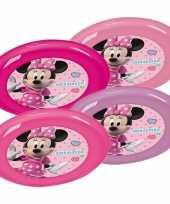 4x roze paarse eetbordjes disney minnie mouse voor kinderen peuters