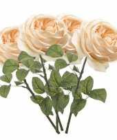 4x rozen kunstbloem perzik 66 cm