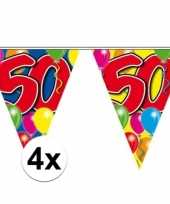 4x slingers 50 jaar buiten vlaggetjes 10 meter