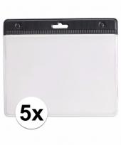 5 badgehouders voor aan een keycord zwart 11 2 x 58 cm