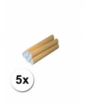 5 hobby materiaal kokers van karton 31x4 cm