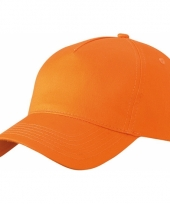 5 panel baseball petjes oranje
