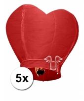 5 wensballonnen in hartvorm rood 100 cm
