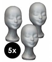 5 witte paspop hoofden van piepschuim