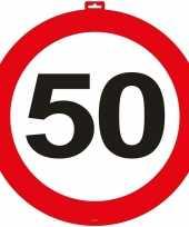 50 jaar verkeersbord deurdecoratie 47 cm