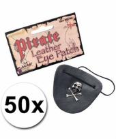 50 piraat ooglapjes met doodshoofd