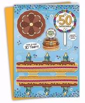 50ste verjaardag taart kaart abraham 35 x 49 cm