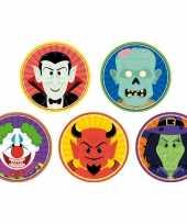 50x horror halloween versiering decoratie bierviltjes clown duivel heks vampier zombie van karton