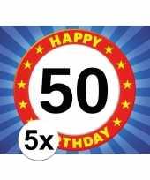 5x abraham sarah vijftig 50 jaar stopbord sticker decoratie versiering 7x 10 cm