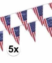 5x amerikaanse usa vlaggenlijnen van 4 meter