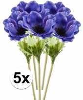 5x blauwe anemoon 47 cm kunstplant steelbloem