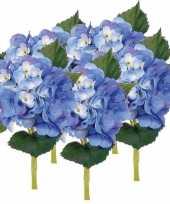 5x blauwe kunst hortensia kunstbloemen 48 cm