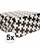5x cadeaupapier zwart wit met patroon 70x200 cm