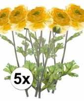 5x gele ranonkel 45 cm kunstplant takken