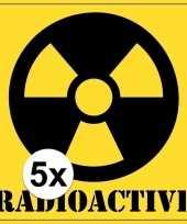 5x halloween versiering radioactief gevaren sticker 10 5