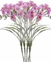 5x kunstbloem tak freesia lila 63 cm
