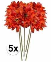 5x oranje gerbera 47 cm kunstplant steelbloem