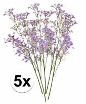 5x paarse kroonkruid 68 cm kunstplant takken
