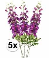 5x paarse ridderspoor 70 cm kunstplant takken