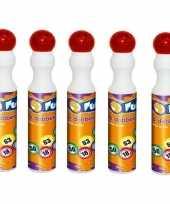5x ronde rode stift marker voor bingo 43 ml