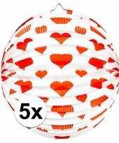 5x ronde rood witte bollampion met hartjes