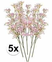 5x roze kroonkruid 68 cm kunstplant takken