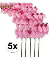 5x roze orchidee 100 cm kunstplant takken
