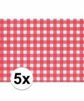 5x tafelmatje rood wit geblokt 43 x 30 cm