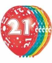 5x verjaardag 21 jaar heliumballonnen 30 cm