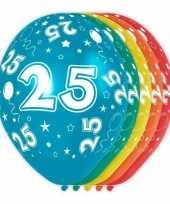 5x verjaardag 25 jaar heliumballonnen 30 cm