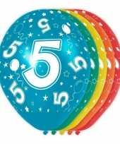 5x verjaardag 5 jaar heliumballonnen 30 cm