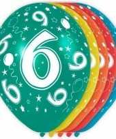5x verjaardag 6 jaar heliumballonnen 30 cm