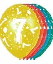 5x verjaardag 7 jaar heliumballonnen 30 cm