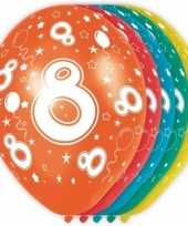 5x verjaardag 8 jaar heliumballonnen 30 cm