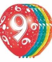5x verjaardag 9 jaar heliumballonnen 30 cm