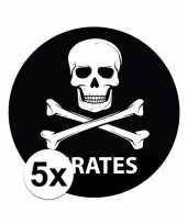 5x zwarte piraten thema stickertjes