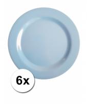 6 blauwe camping bordjes 25 cm