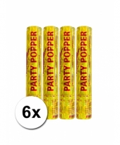 6 confetti poppers goud 28 cm